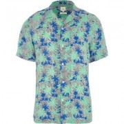 River Island Green palm print short sleeve shirt