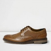 River Island Mens Tan textured leather brogues