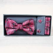 Set papion, batista si butoni, design rosu cu negru