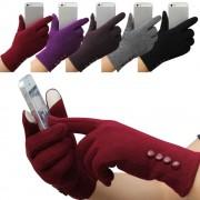 Manusi touchscreen pentru femei, elegante, cu nasturi