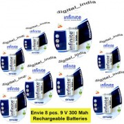 Envie 9V / 9 Volts Battery 300 mAh PP3 Size Ni-Mh Rechargeable Battery 8 pcs.