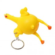 Generic Soft Rubber Plucked Squeezing Laying Egg Chicken Key Chain Tricky Toy Yellow