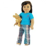 18 Inch Doll Clothes Plaid Pajamas with Teddy Bear Fits 18 American Girl Dolls Gift-boxed!