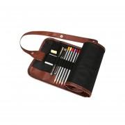 Canvas Pencil Wrap - Portalápices de tipo estuche, lona y Cuero, 72 Ranuras - Negro