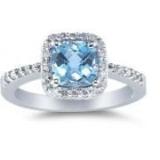 Cushion-Cut Blue Topaz and Diamond Ring