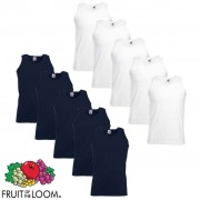 Fruit of the Loom 10 Canottiere Value Weight Cotone Bianche e Blu XL