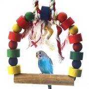 Rrimin Birds Wooden Beaded bridge Ladder Rope Toy Parrot Budgie Cockatiel Pet Cage Chew Swing Toys