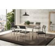 Conjunto de Mesa Carraro 1526 + 6 Cadeiras 1709 - Cromado - Cor Cromada - Assento Encosto Camurça Conhaque