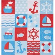 Zala Living Softvelours Teppich Nautic blau rot 100 x 100 cm (102390)