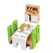 Jucarie eco din lemn Mobilier Sufragerie pentru casa papusilor Hape