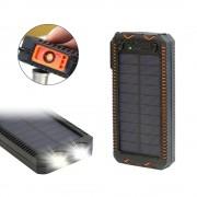 Acumulator extern solar 10000mAh, Lanterna Dubla, Bricheta