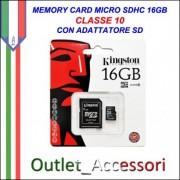 Memory Card Micro sdhc sd 16GB CLASSE 10 KINGSTON Originale in confezione Blister sigillata