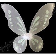 """Perfectmaze White 23""""X18"""" Sparkling Glitter Fairy Butterfly Wings Pixie Dance Costume"""