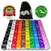 100 Dice Set 10 Different Colors 10 Dice of Each Color 16mm D6 Acrylic Dice FREE Velvet Carry Bag Great for Games Like: Tenzi Farkle Yahtzee Bunco or Teaching Math