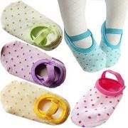 FlyingP 5Pairs Toddler Anti Slip Socks for 8-36 Months Infants Baby Girl Mary Jane No-Show Crew Boat Ankle Socks Footsocks sneakers