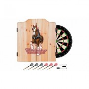 Beer Brand Wood Dart Cabinet Set with Darts and Board Budweiser - Clydesdale Red