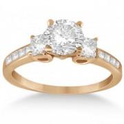 Three-Stone Princess Cut Diamond Engagement Ring in 14k Rose Gold (0.64 ctw)