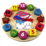 Geometry Wood Rabbit Style Clock Shape Baby Cognitive Recognition Building Blocks Toy