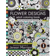 Flower Designs Adult Coloring Book: Black Background Edition, Volume 1