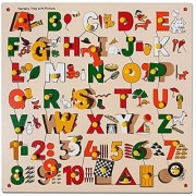 Skillofun Number ABC Alphabet and Shape Puzzle with Picture & Knobs