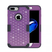 For iPhone 7 Plus 3 in 1 Diamond Encrusted PC + Silicone Combination Case(Purple + Black)