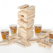 Drinking Game Tipsy Tower Block Building Shot Glass Fun for Adult with 4 Glasses