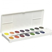 Sax True Flow 16-Color Oval Pan Watercolor Paint Set with Brush - Assorted Colors