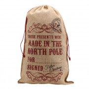 'Made in The North Pole For...' Large Hessian Christmas Sack