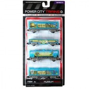 Jakks Pacific Year 2013 Power City Trains Series 4 Pack Train Accessory Set - MUSEUM FREIGHT with 2 Caboose Freight Transport Car and Extinct Species Transporter Tanker