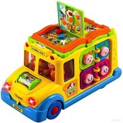 WolVol Activity Yellow School Bus Toy for Kids with Lights and Music Rides on its own Passengers Swing side to side Lots of Functions & Learning the Animals (can turn off the sound while in action)