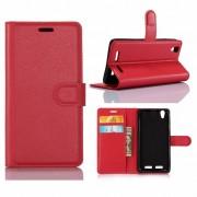 Huawei P10 - PU lederen TPU Portemonnee hoesje met Kaarthouder Lychee - Rood