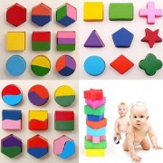 Wooden Geometric Shapes Sorter Blocks Puzzle for Kids (Set Of 3 Puzzles)