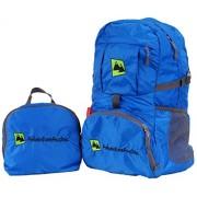 AdventureAustria Azul mochila de viaje 35L - plegable práctica con reflectores e perfecta para senderismo ciclismo viajes y actividades al aire libre