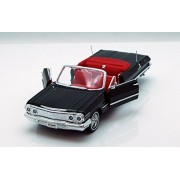 1963 Chevy Impala Convertible, Black Welly 22434 1/24 Scale Diecast Model Toy Car