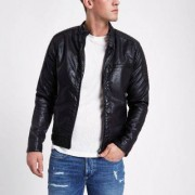 River Island Black faux suede leather racer jacket