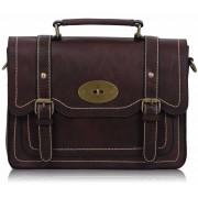 Kabelka LS0095 - Burgundy Vintage Buckle Satchel