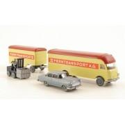 Set WIKING-Tráfico-modelos Nr.4: Opel Rekord, muebles-camión con remolque, Hubstapler , Modelo de Auto, modello completo, Wiking / PMS 1:87