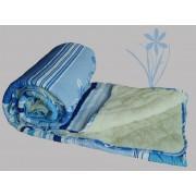 Prekrivač krep-veštačko krzno plava, bela - Stefan