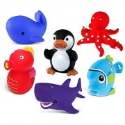 Puzzled Sea Horse Blue Whale Penguin Red Octopus Purple Shark and Blue Fish Rubber Squirter Bath Buddy Bath Toy - Ocean Sea Life Theme - 3 INCH - Item #K2734-2748-2762-2780-2781-2783