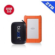 LaCie Rugged Mini USB 3.0 / USB 2.0 2TB External Hard Drive 9000298 PLUS BluCoil Hard Drive Case