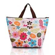 DAYAN Precioso bolsas de aislamiento bolsa de almuerzo bolsa de hielo de hielo bolsa de mano Oxford refrigerados,preciosas flores