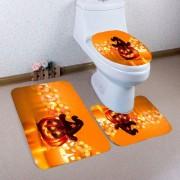 rosegal Halloween Pumpkin Candle Printed 3Pcs Bathroom Mats Set