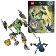 Lego Year 2015 Bionicle Series 8 Inch Tall Figure Set #70784 Lewa Master Of Jungle With Convertible X Glider/Battle Axes, 2 Swords Plus Golden Jungle Mask And Skull Spider (Total Pieces: 85)