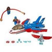 Giocattolo lego inseguimento sul jet di capitan america 76076