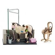Schleich - 42104 - Accessoire Pour Figurine - Box De Lavage Pour Chevaux