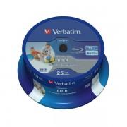 Blu-ray BD-R HTL SL Datalife 25GB 6X Verbatim Wide Printable Spindle 25 uds