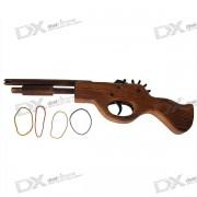Clasico Multi-Shot Rubber Band Launcher Pistola de Madera (Juguete)