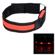 Outdoor Sports Cycling Red Light Flashing 3-Mode 4-LED Safety Warning Strap Arm Band - Red (2pcs)