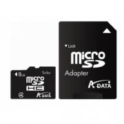 Secure Digital Card micro SDHC 8GB class4 ADATA, adaptor SD (AUSDH8GCL4-RA1)