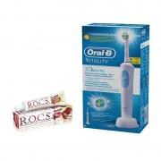 Periuta electrica ORAL-B Vitality D12-513 3D White + Pasta de Dinti R.O.C.S.Teens Cola and Lemon